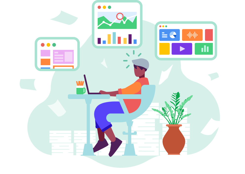 Illustration of employee using a knowledge management software for consumer insights