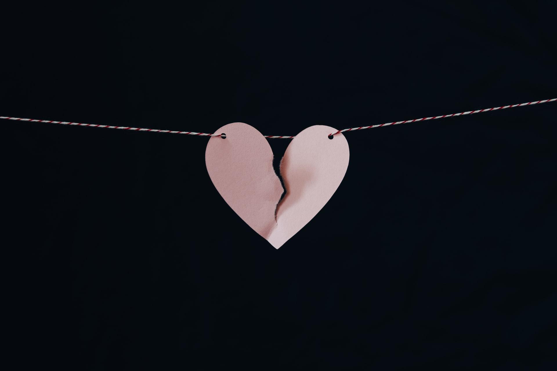 A broken heart made of paper