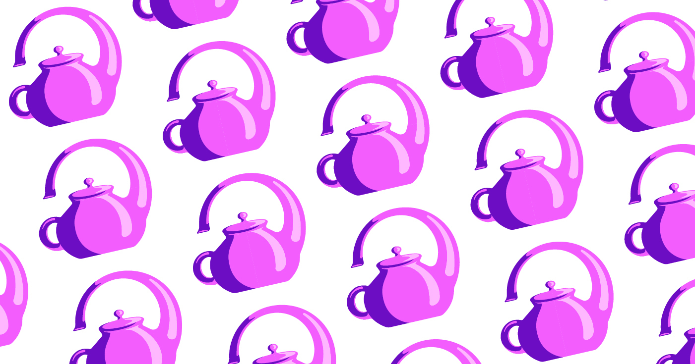 pink and purple teapots with spouts that pour over the handle